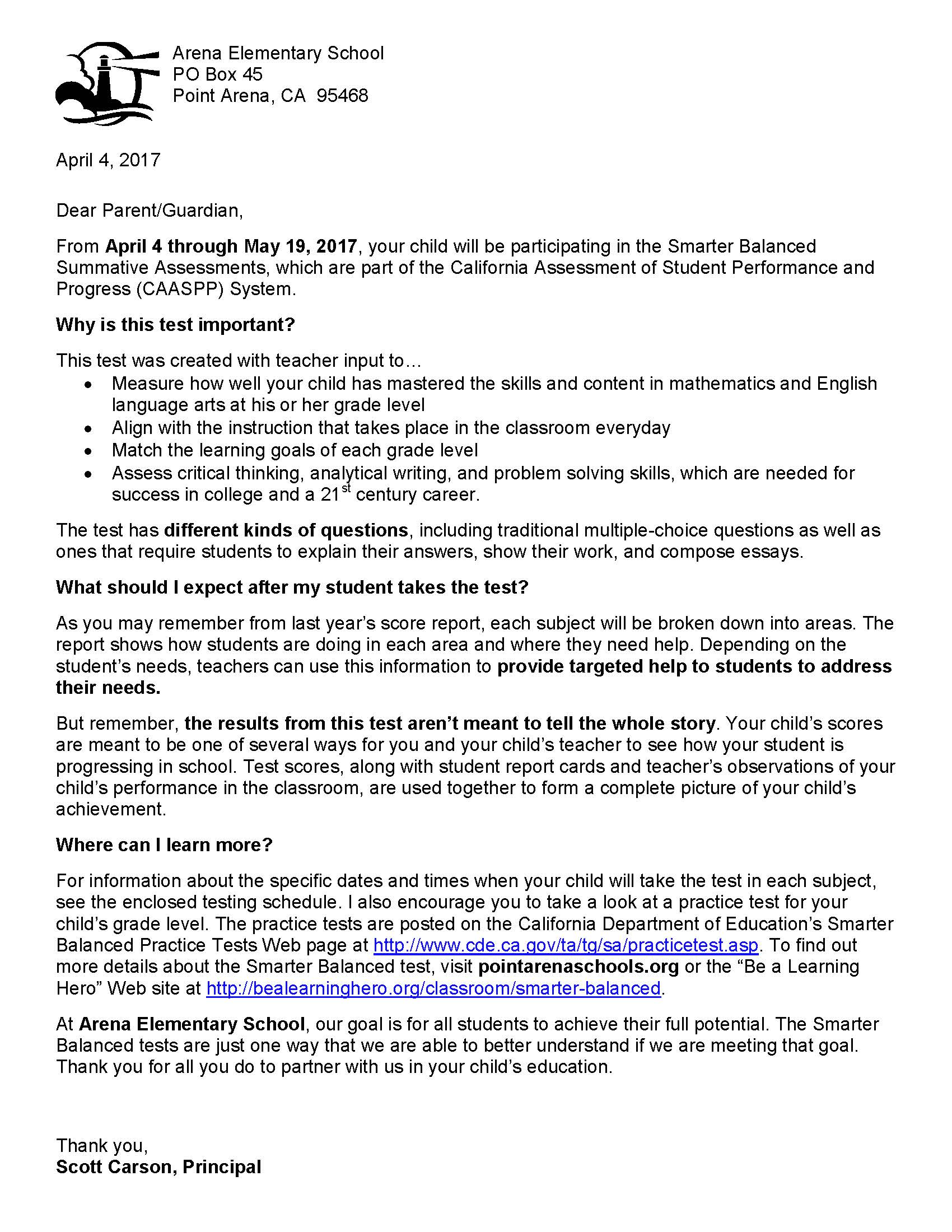 Parent CAASPP Letter