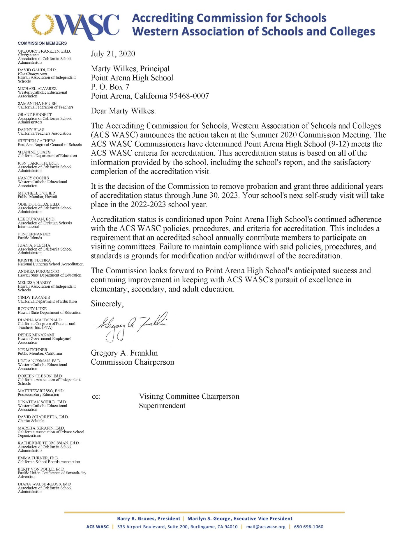 WASC Letter